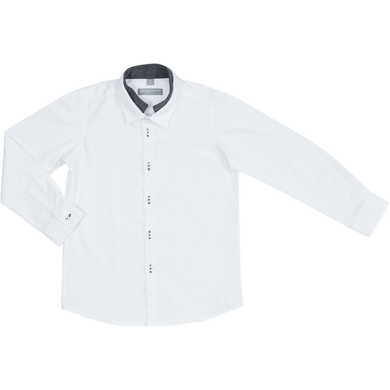 Pompomme White Button Down Shirt With White/Grey Collar