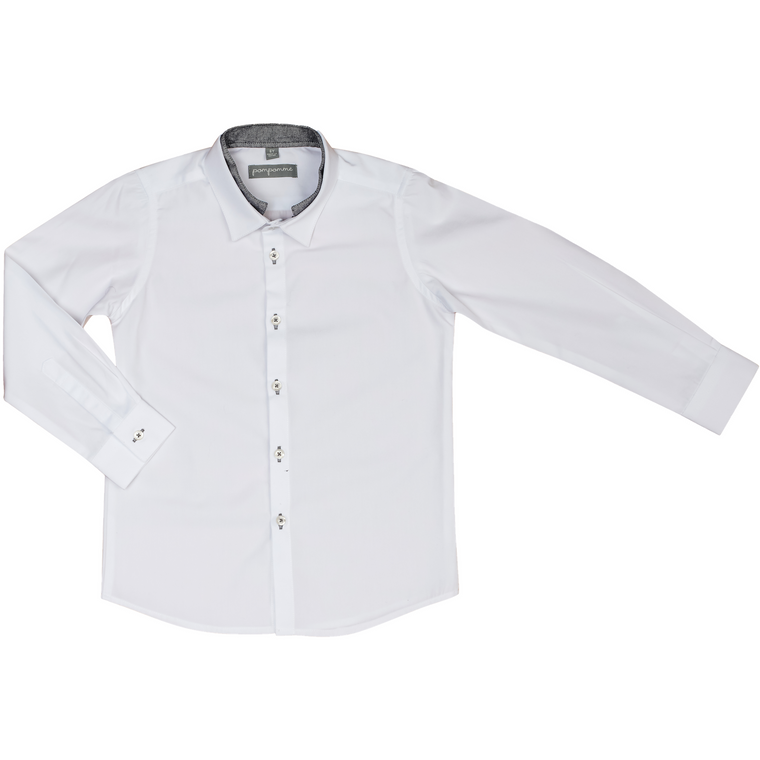 Pompomme White Button Down Shirt With White/Navy Collar