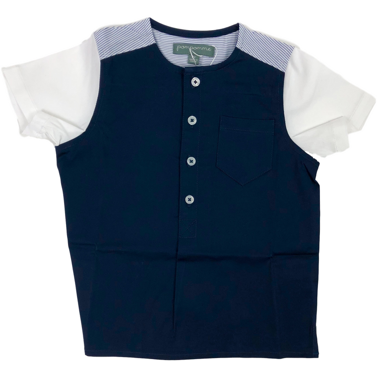 Pompomme Navy/White Color Block Shirt