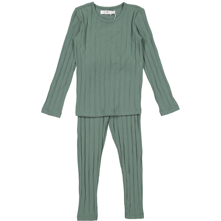 Coco Blanc Sage Green Ribbed Pajamas