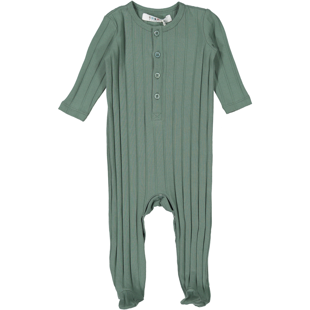 Coco Blanc Sage Green Ribbed Onesie