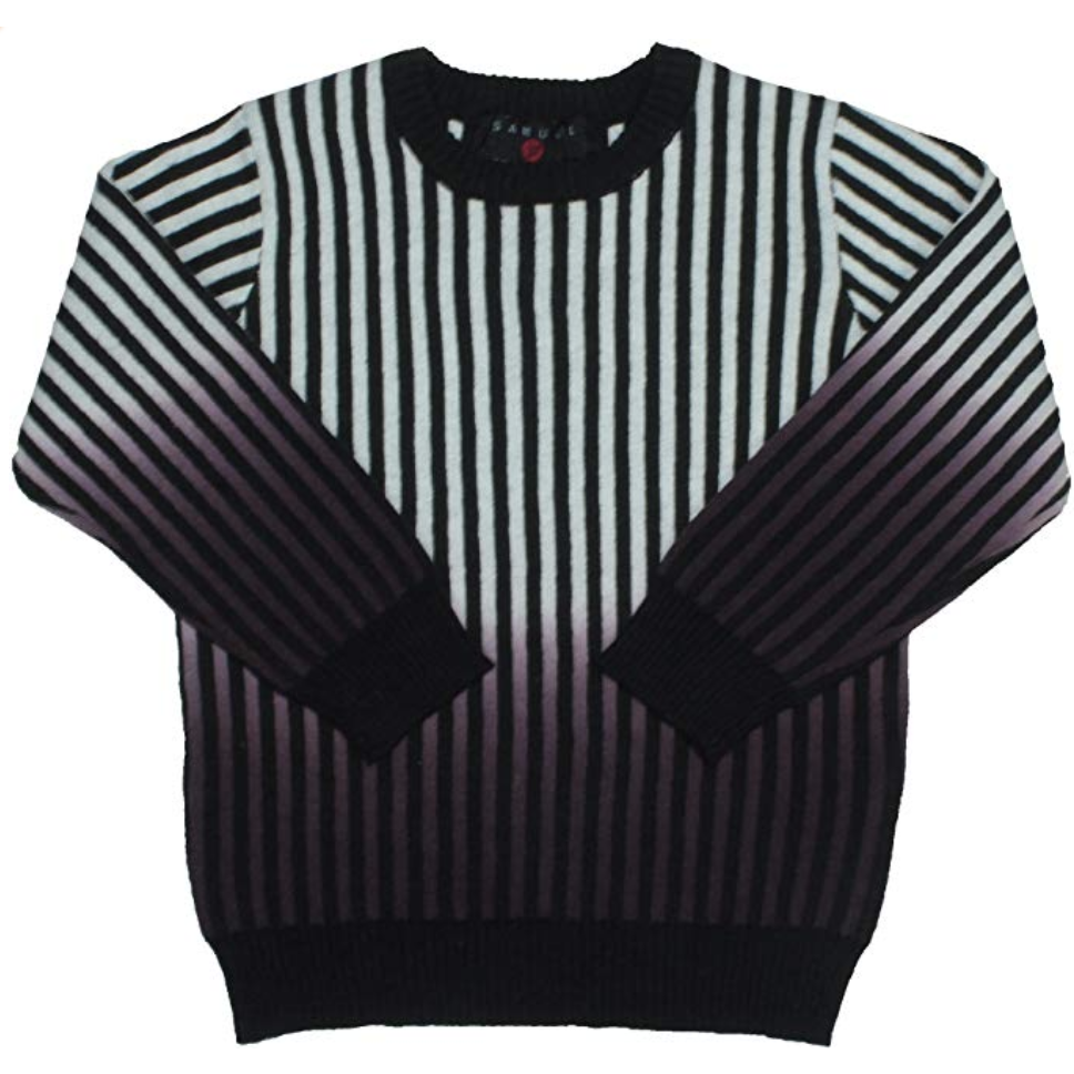 Samuel Jr Black/Cream/Wine Ombre Striped Crewneck