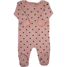 Tugg Blush Polka Dot Ribbed Romper