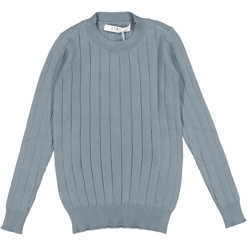 Coco Blanc Slate Blue Ribbed Sweater