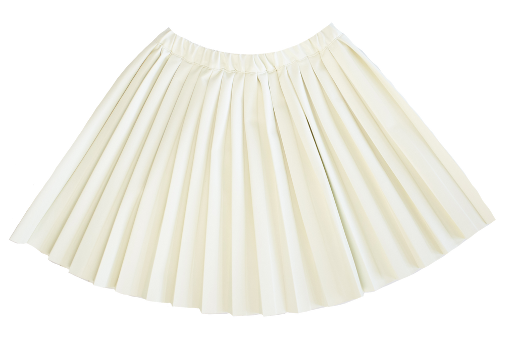 Kipp White Leather Pleat Skirt