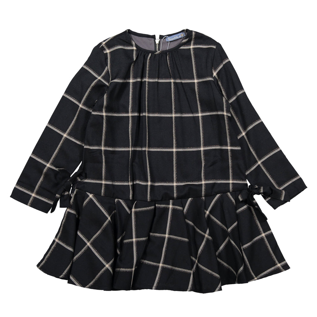 Tarantela Black Check Drop-Flair Dress