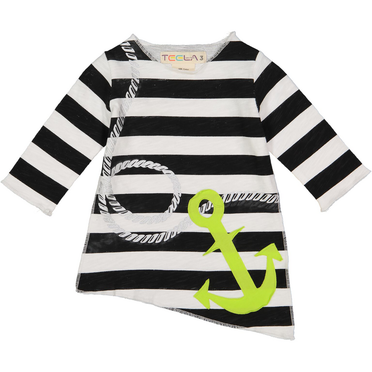 Teela Black/White Angled Anchor Print T-Shirt
