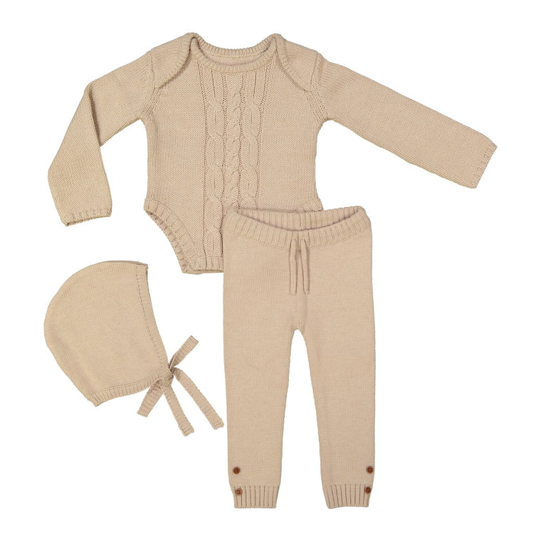 Teela Cashmere Baby Cable Knit 3 Piece Set