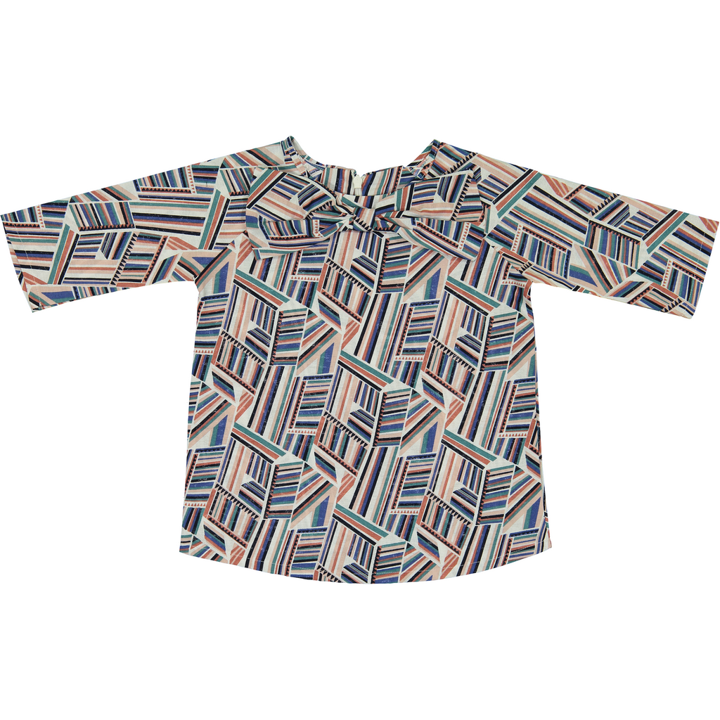 Teela Multi Colored Geometric Bow Shirt