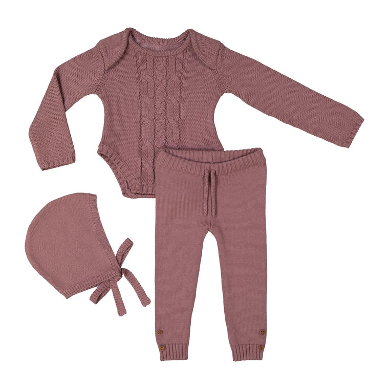 Teela Lilac Baby Cable Knit 3 Piece Set