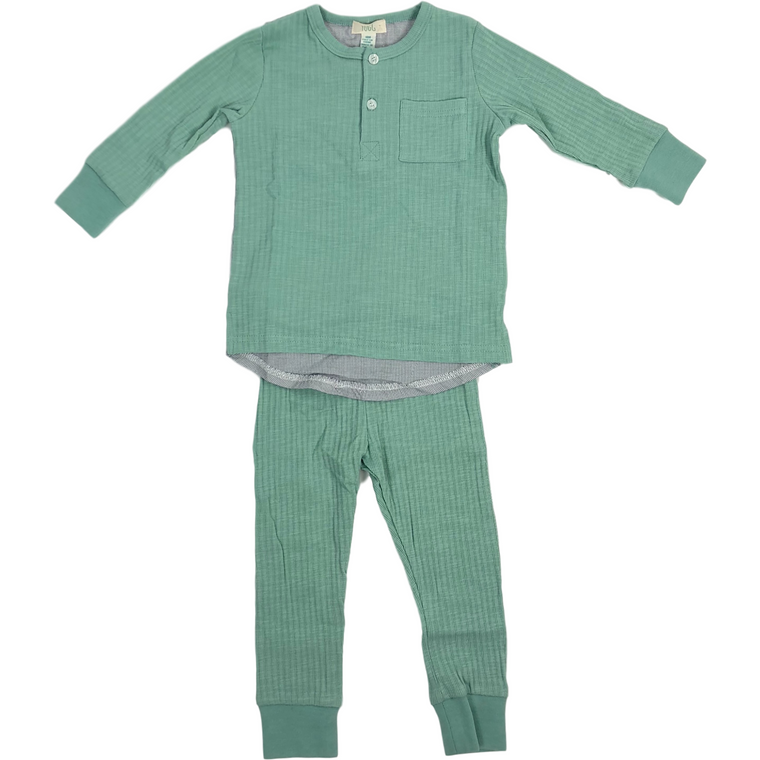 Tugg Moss Ribbed Pajama Set