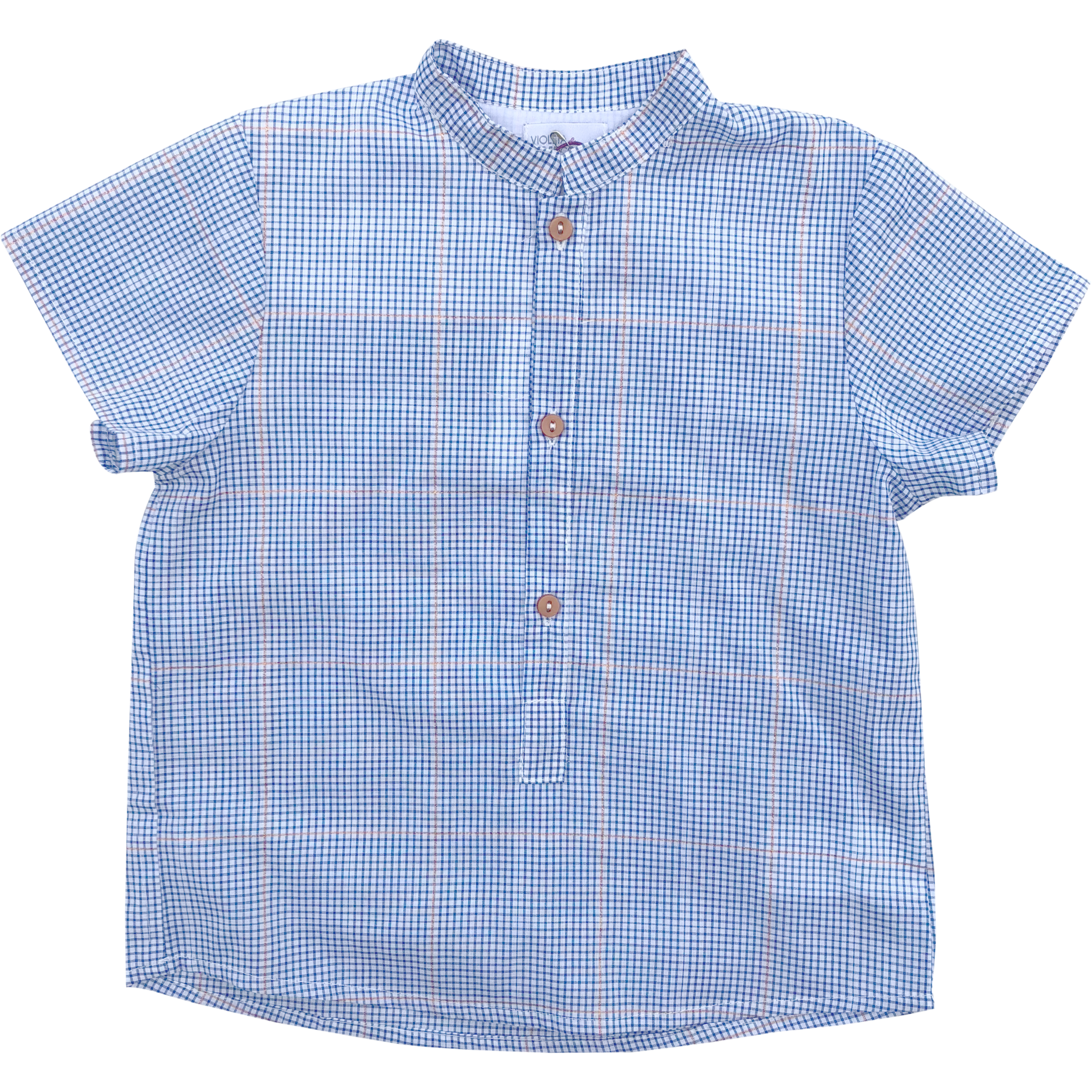 Violeta E Federico Blue Checkered Short Sleeve Shirt