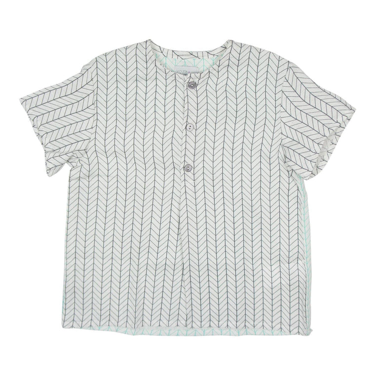 Violeta E Federico Grey/Green/White Rubi Short Sleeve Shirt