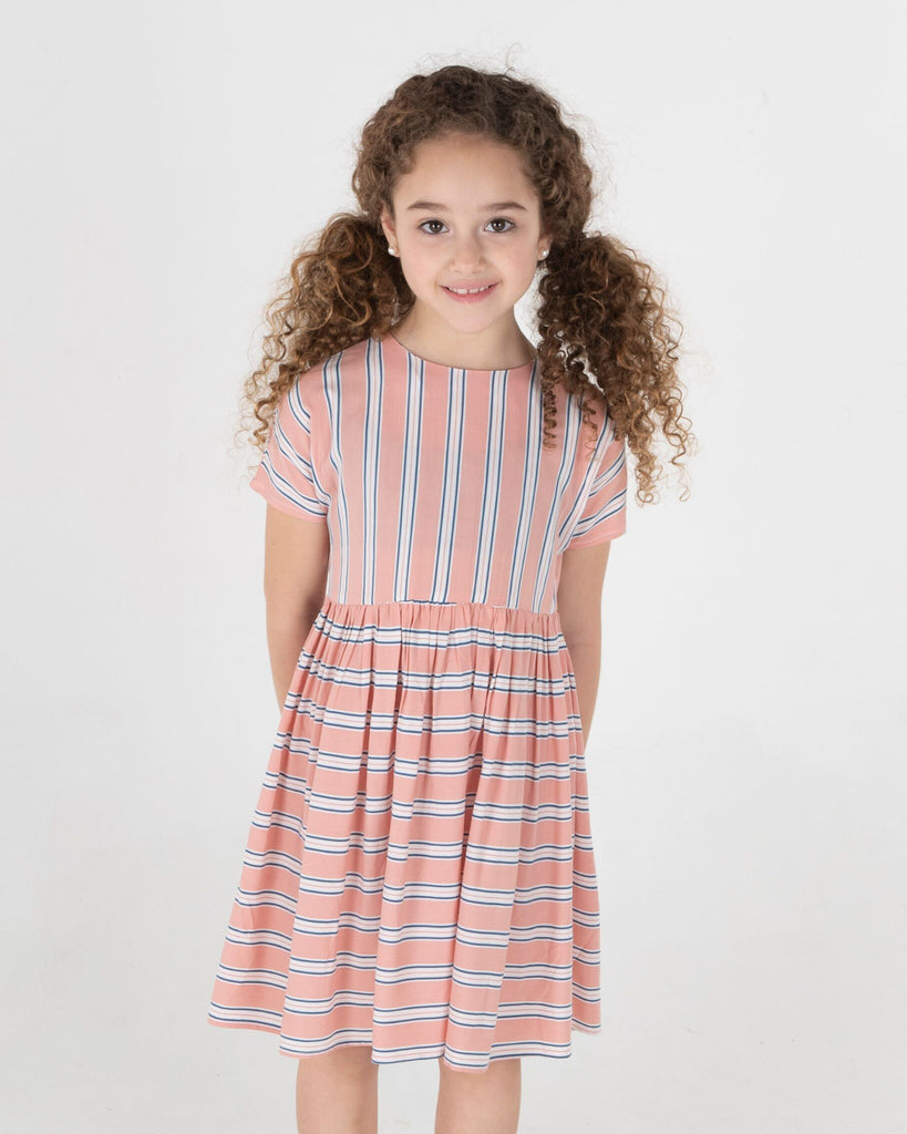Three Bows Peach Blue Stripe Beach Dress
