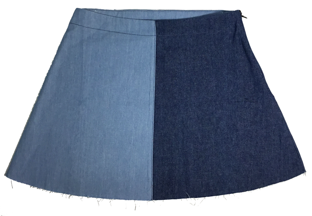 Crew Denim Two Tone Skirt