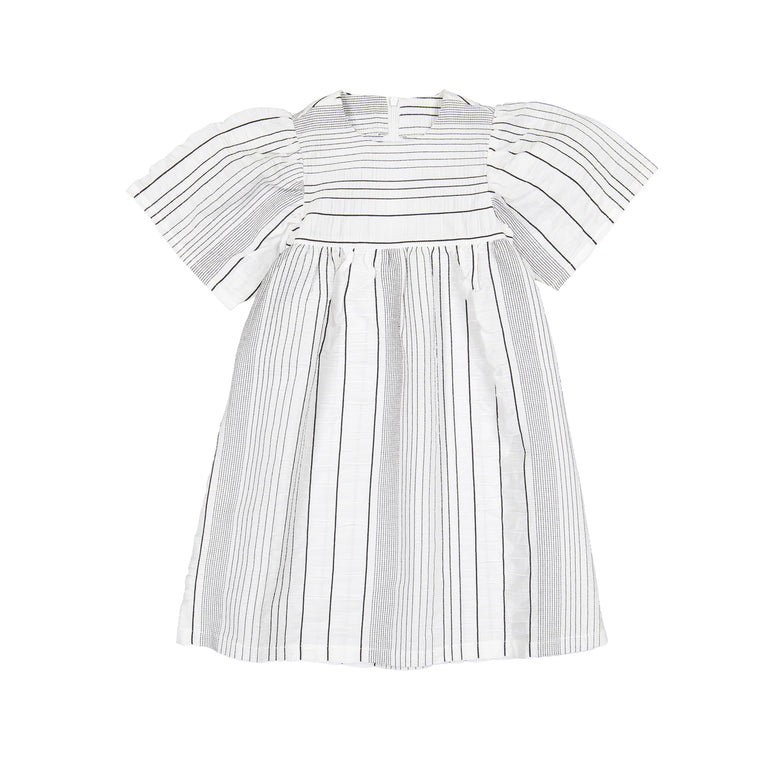 Belati White Striped Full Dress