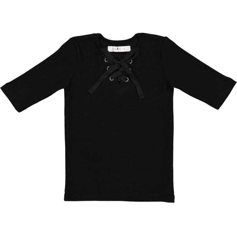 Coco Blanc Black Ribbed Three Quarter Criss Cross Tee