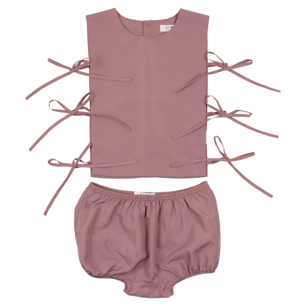 Coco Blanc Deep Rose Baby Bow Set
