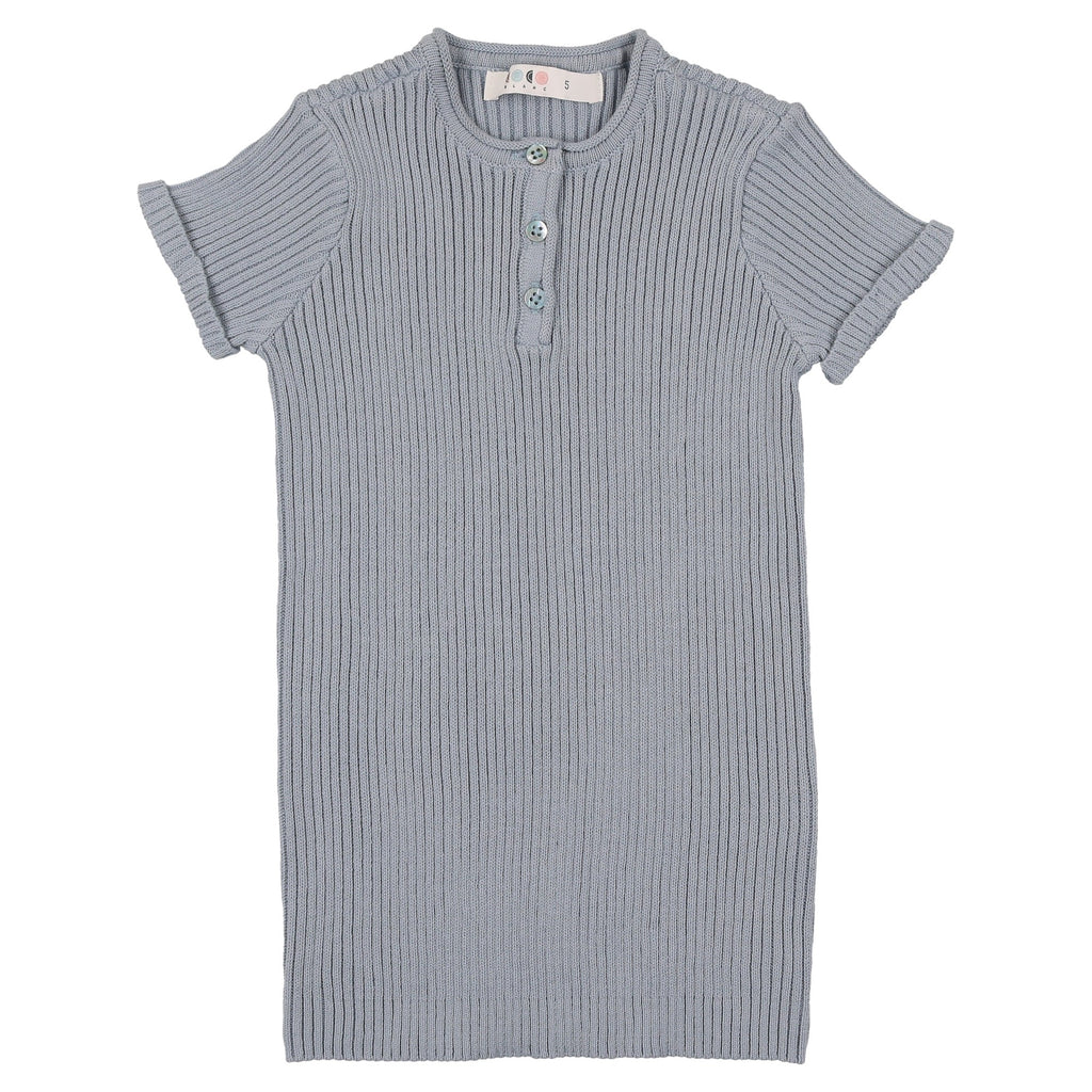 Coco Blanc Ice Blue Knit Henley