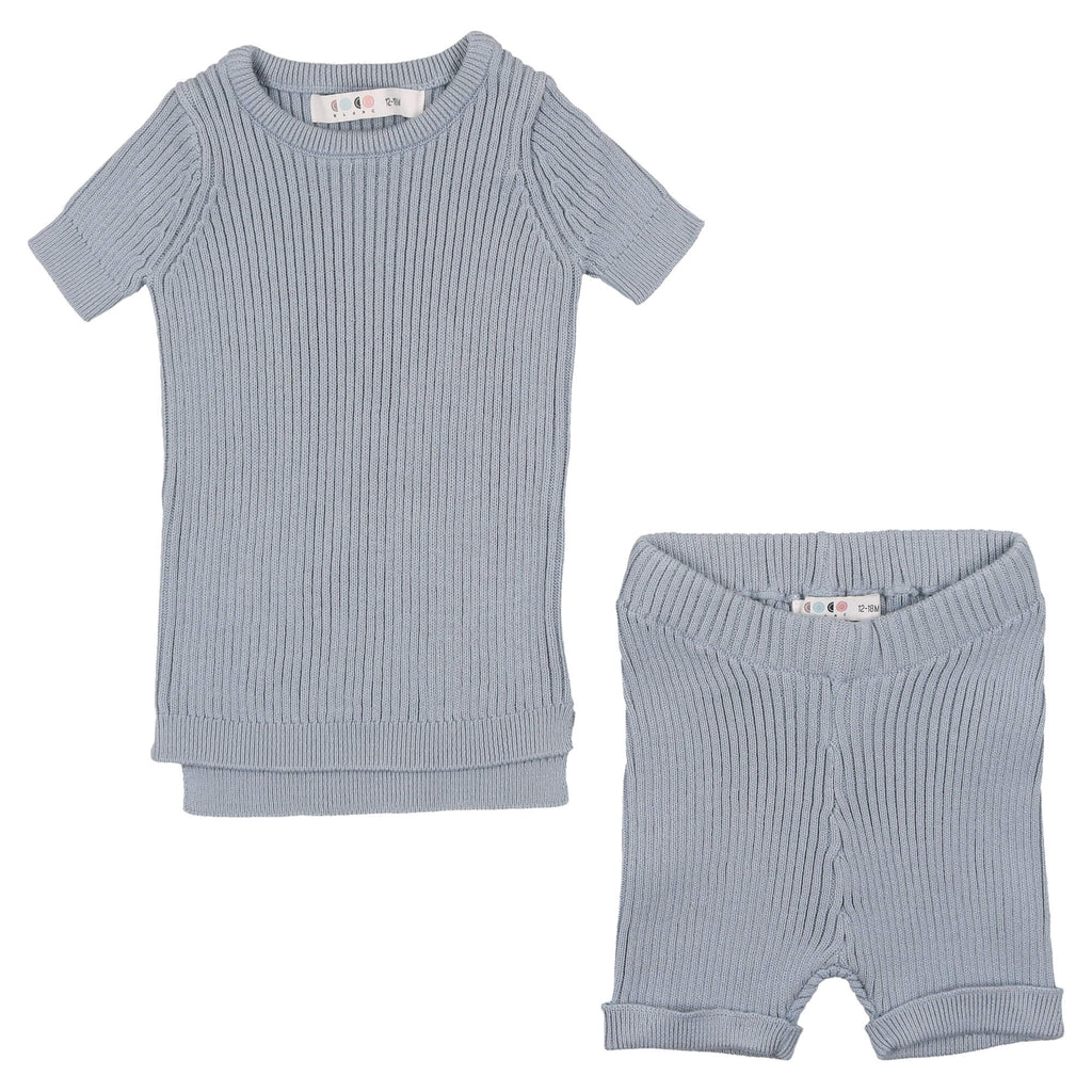 Coco Blanc Ice Blue Baby Knit Set