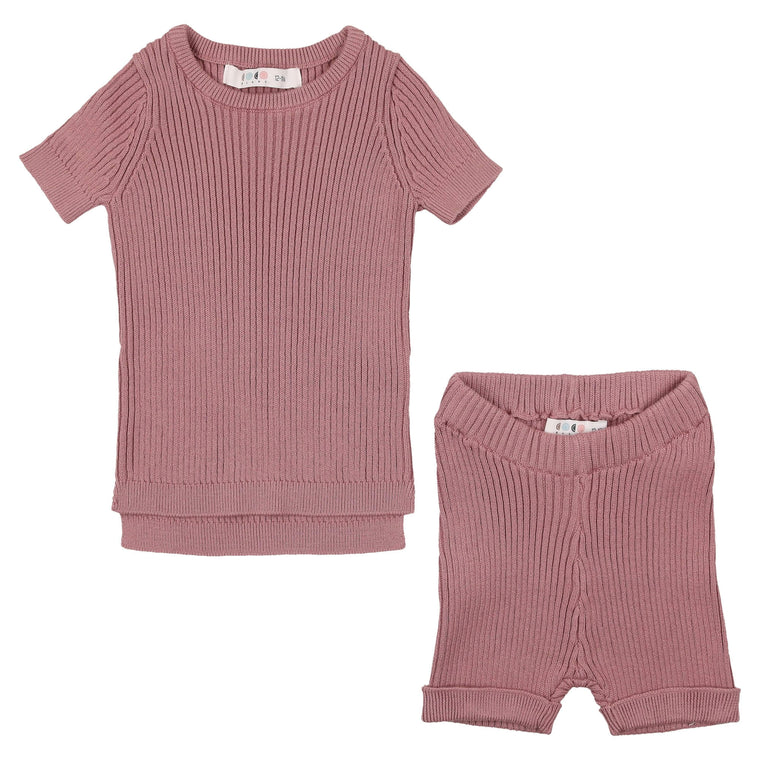 Coco Blanc Deep Rose Baby Knit Set