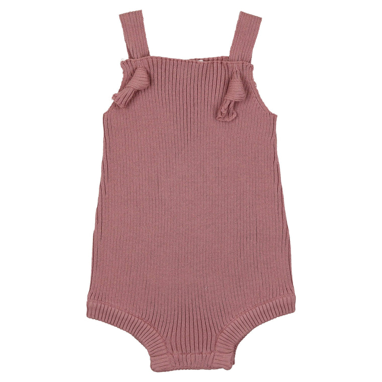 Coco Blanc Deep Rose Ribbed Romper