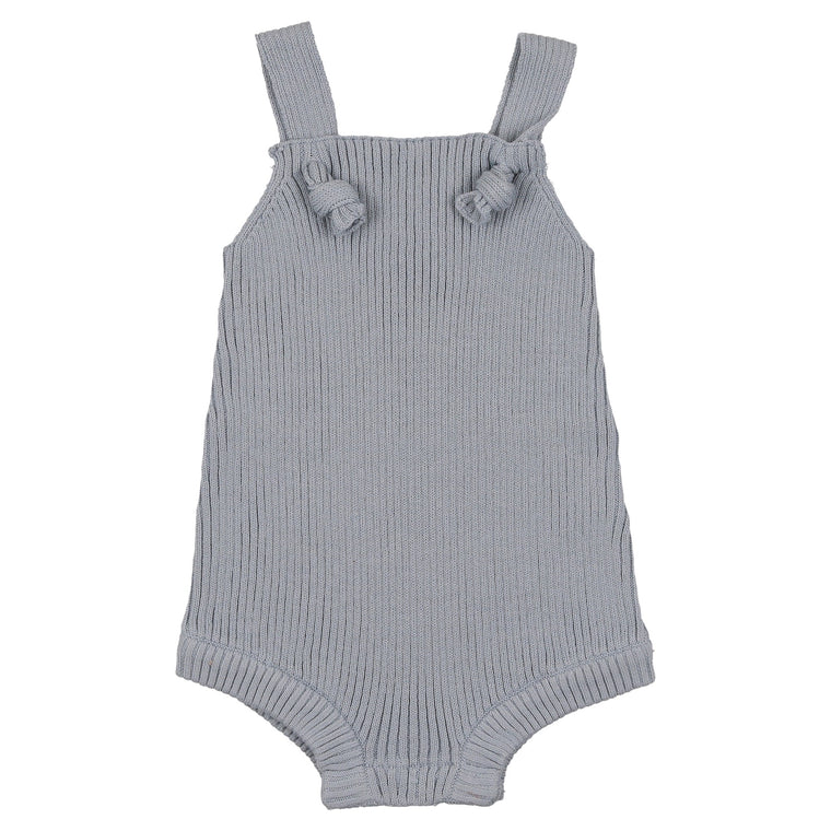 Coco Blanc Ice Blue Ribbed Romper