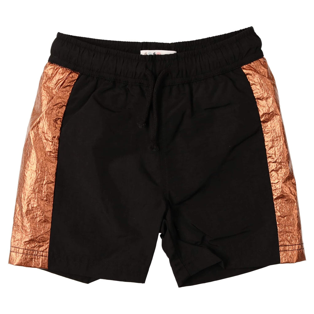 Coco Blanc Black/Rose Gold Woven Swim Trunk