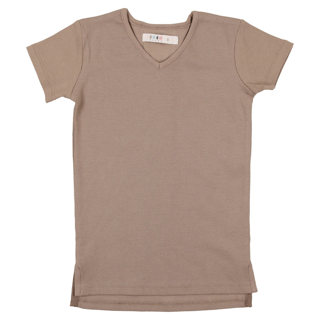 Coco Blanc Taupe V-Neck Tee