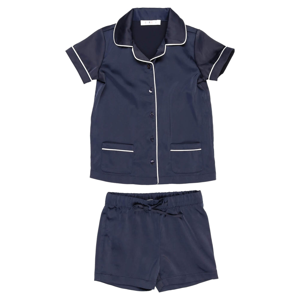 Coco Blanc Navy/White Silky Grandpa Short Set Pajamas