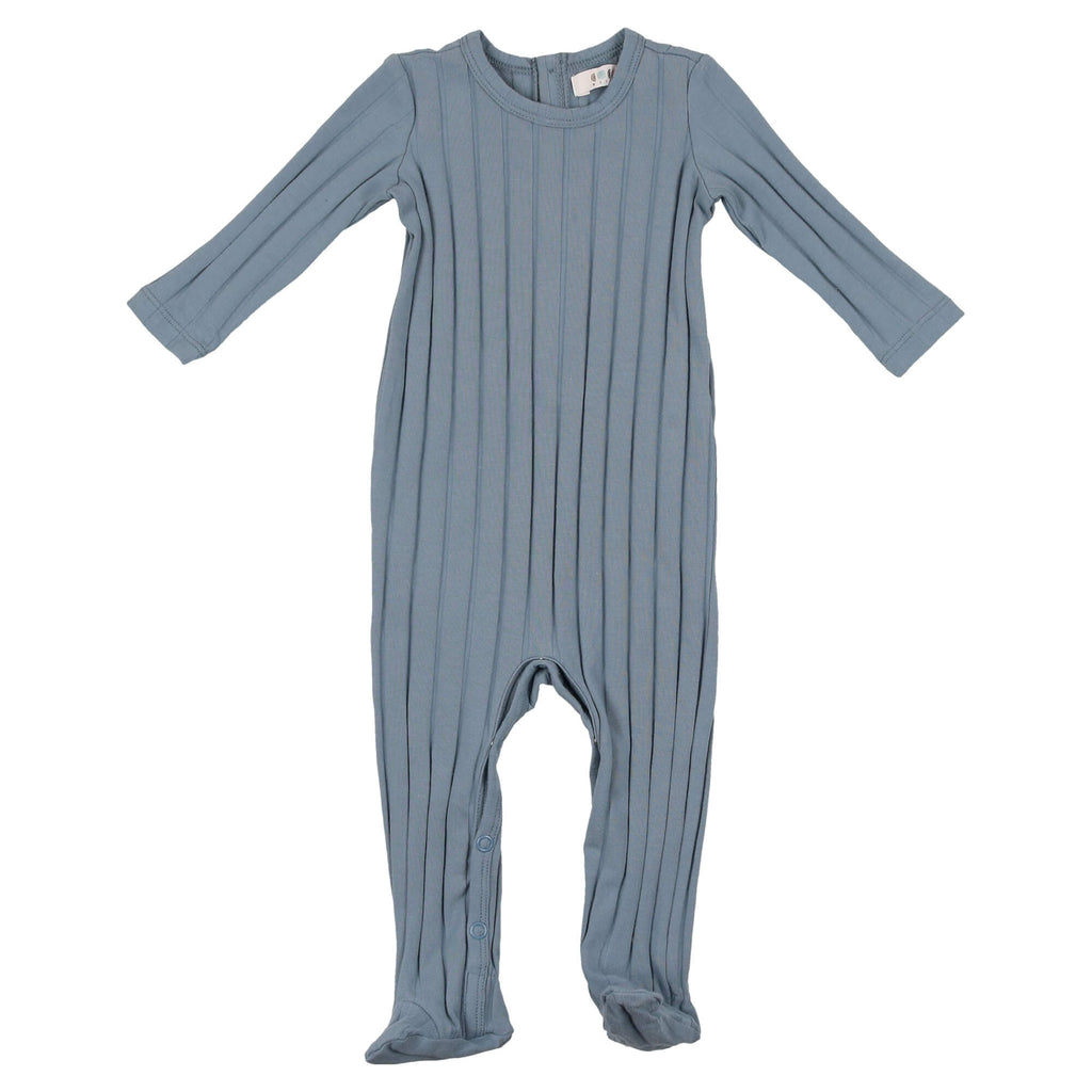 Coco Blanc Ice Blue Ribbed Onesie