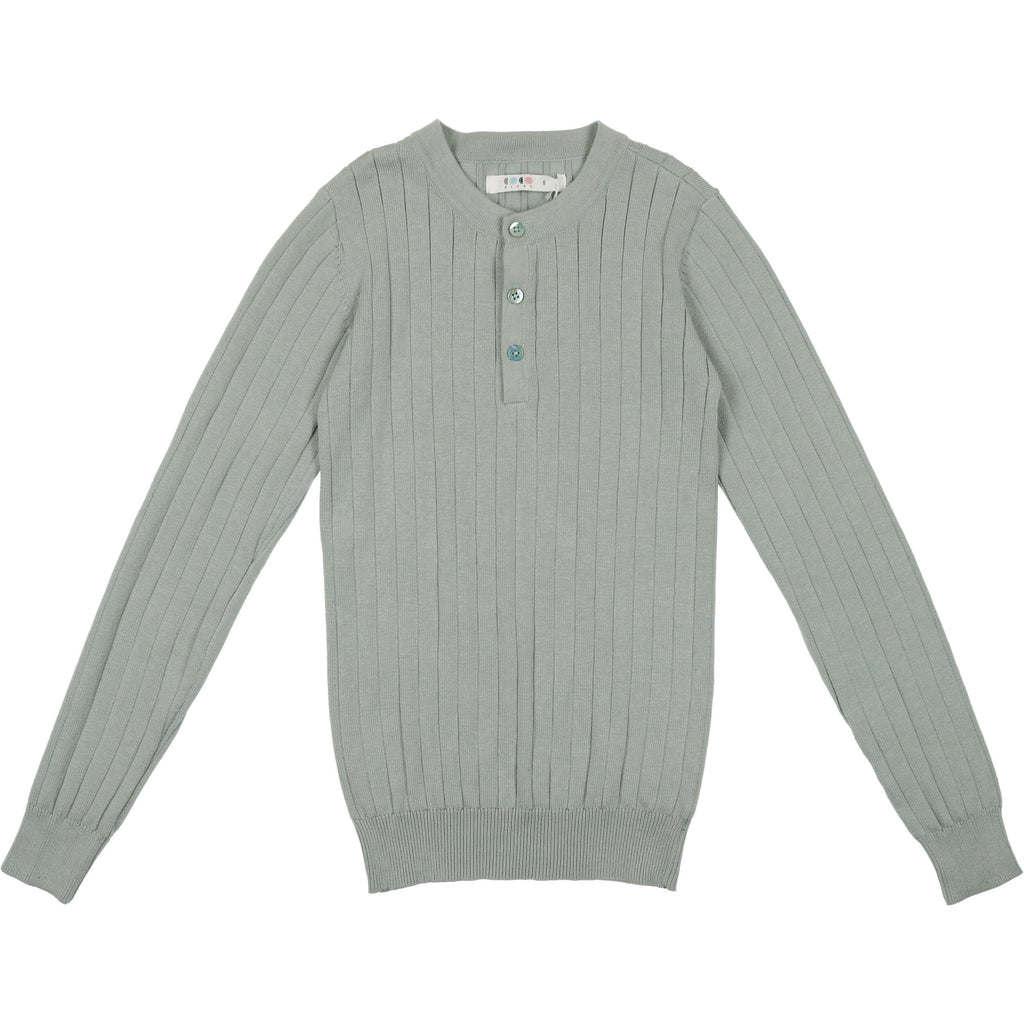 Coco Blanc Sage Blue Crew Ribbed Sweater