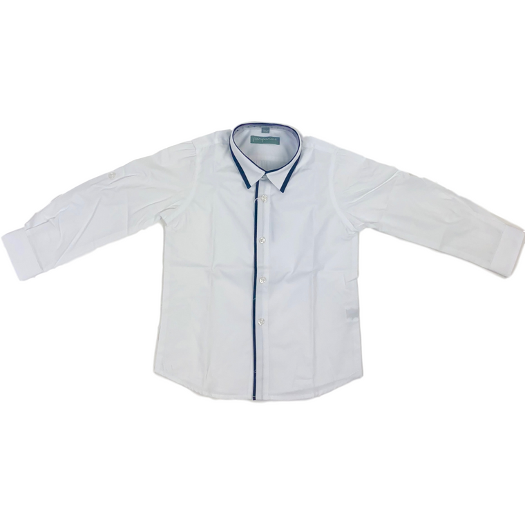 Pompomme White With Navy Accents Button Down Shirt