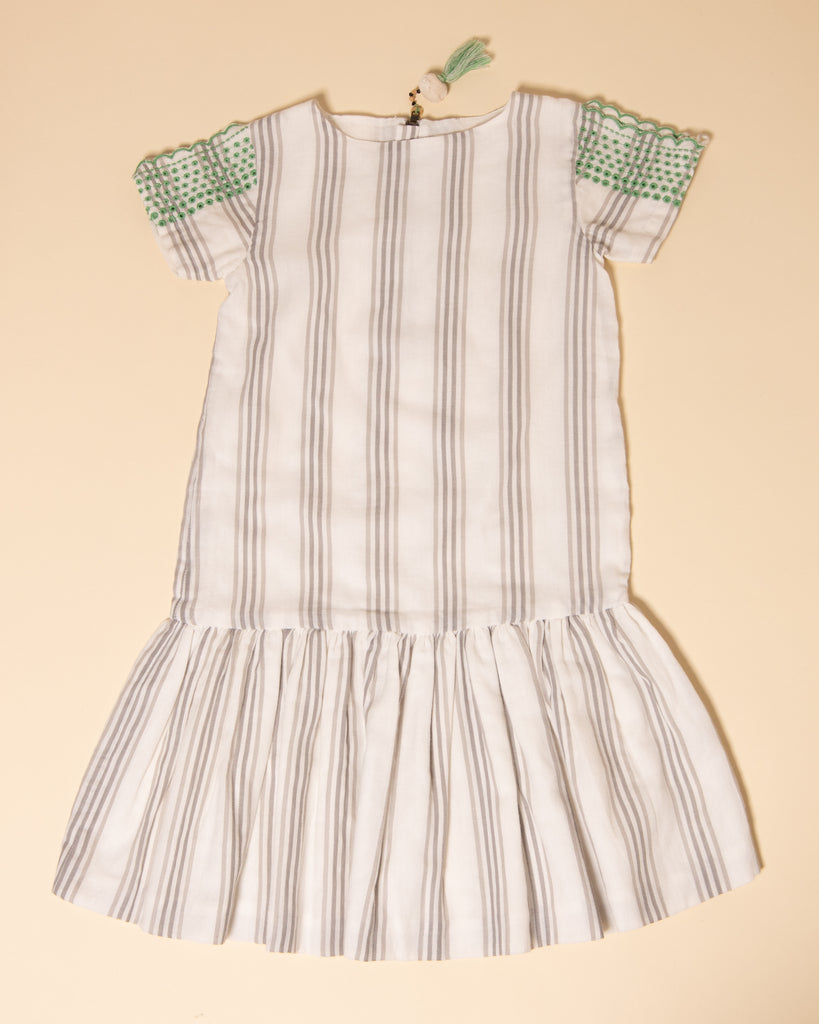 Marin and Morgan Camp Grey Stripe Embroidery Dress
