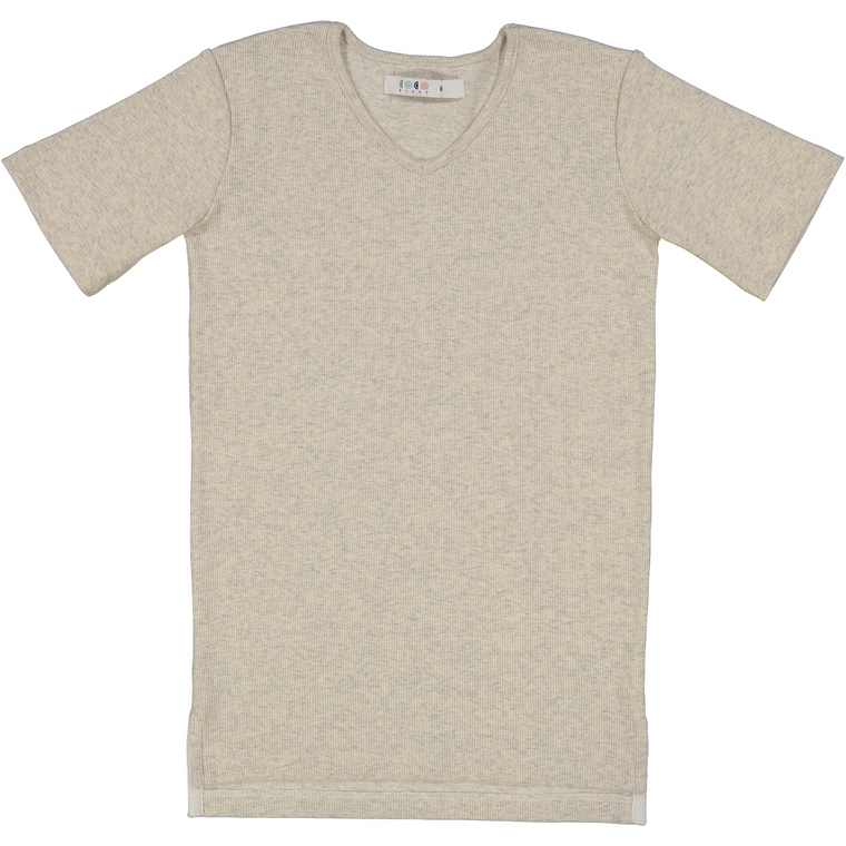 Coco Blanc Oatmeal Heather V-Neck Ribbed Top