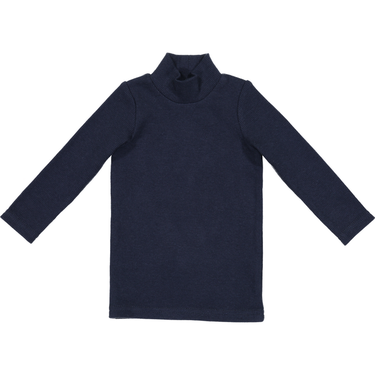 Lil Leggs Navy Ribbed Turtleneck Shirt