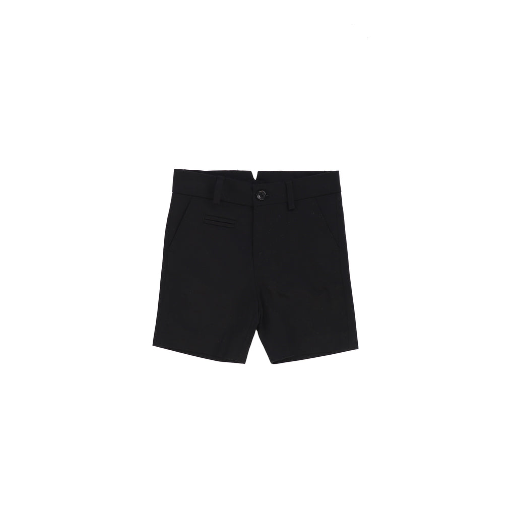 Nove Black Cotton Sateen Shorts