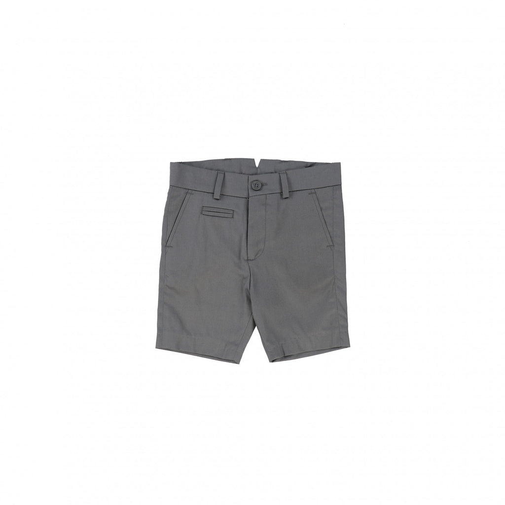Nove Light Gray Cotton Sateen Shorts