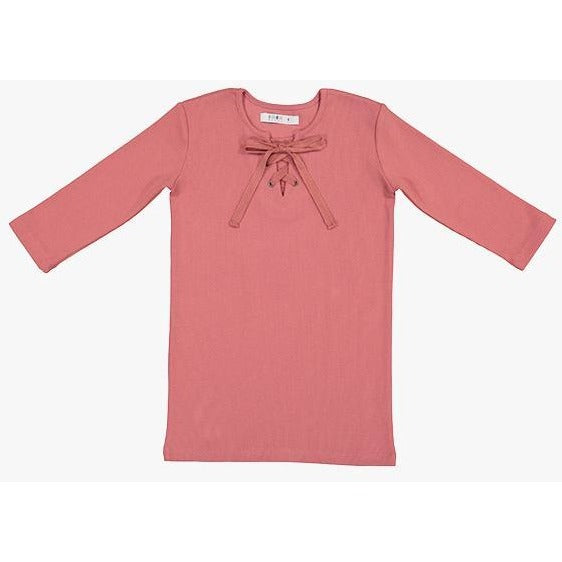 Coco Blanc Blush Pink Ribbed Three Quarter Criss Cross Tee