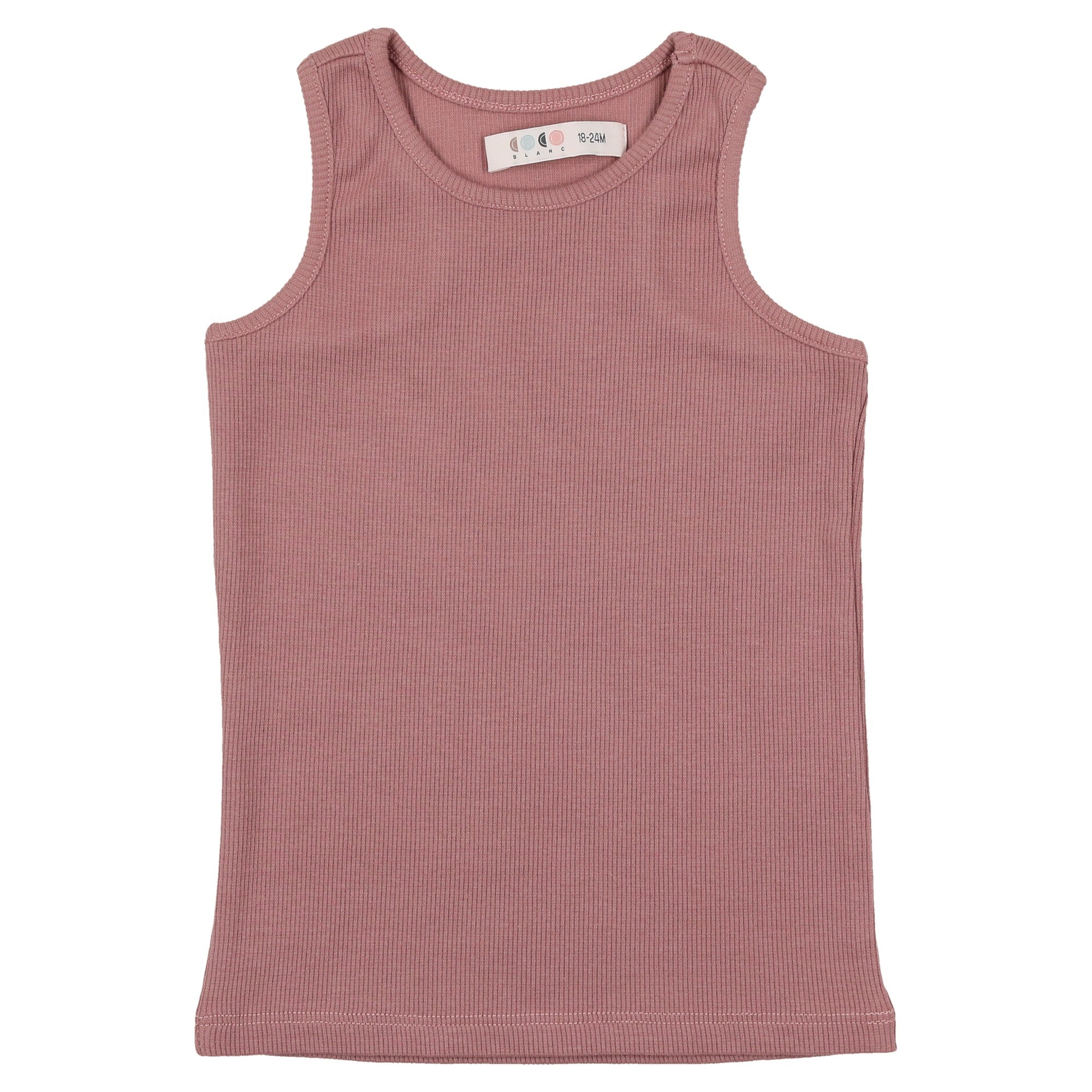 Coco Blanc Deep Rose Ribbed Tank Top