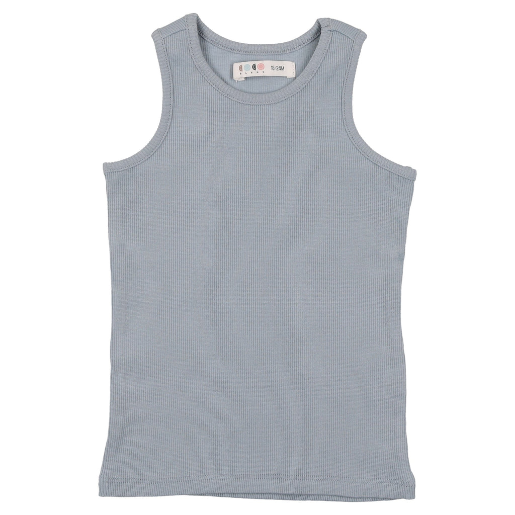 Coco Blanc Ice Blue Ribbed Tank Top