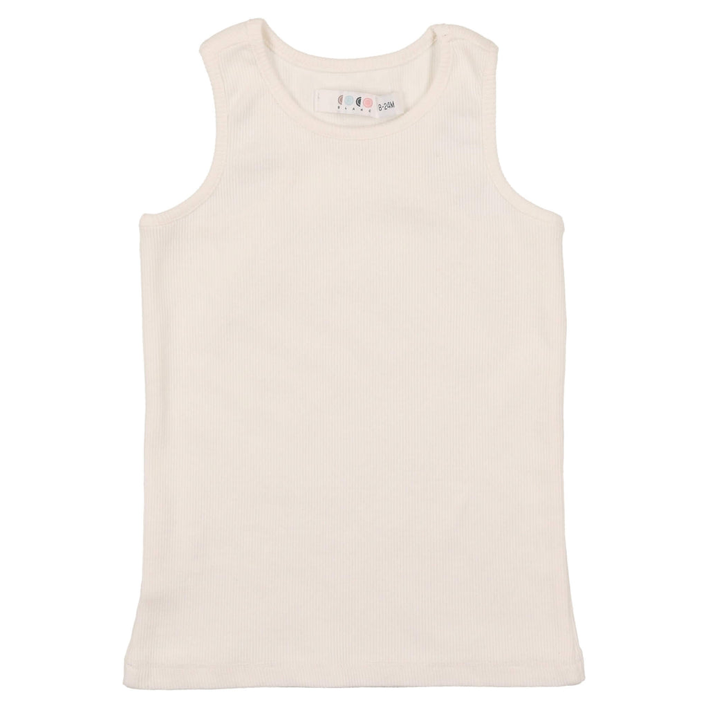 Coco Blanc White Ribbed Tank Top