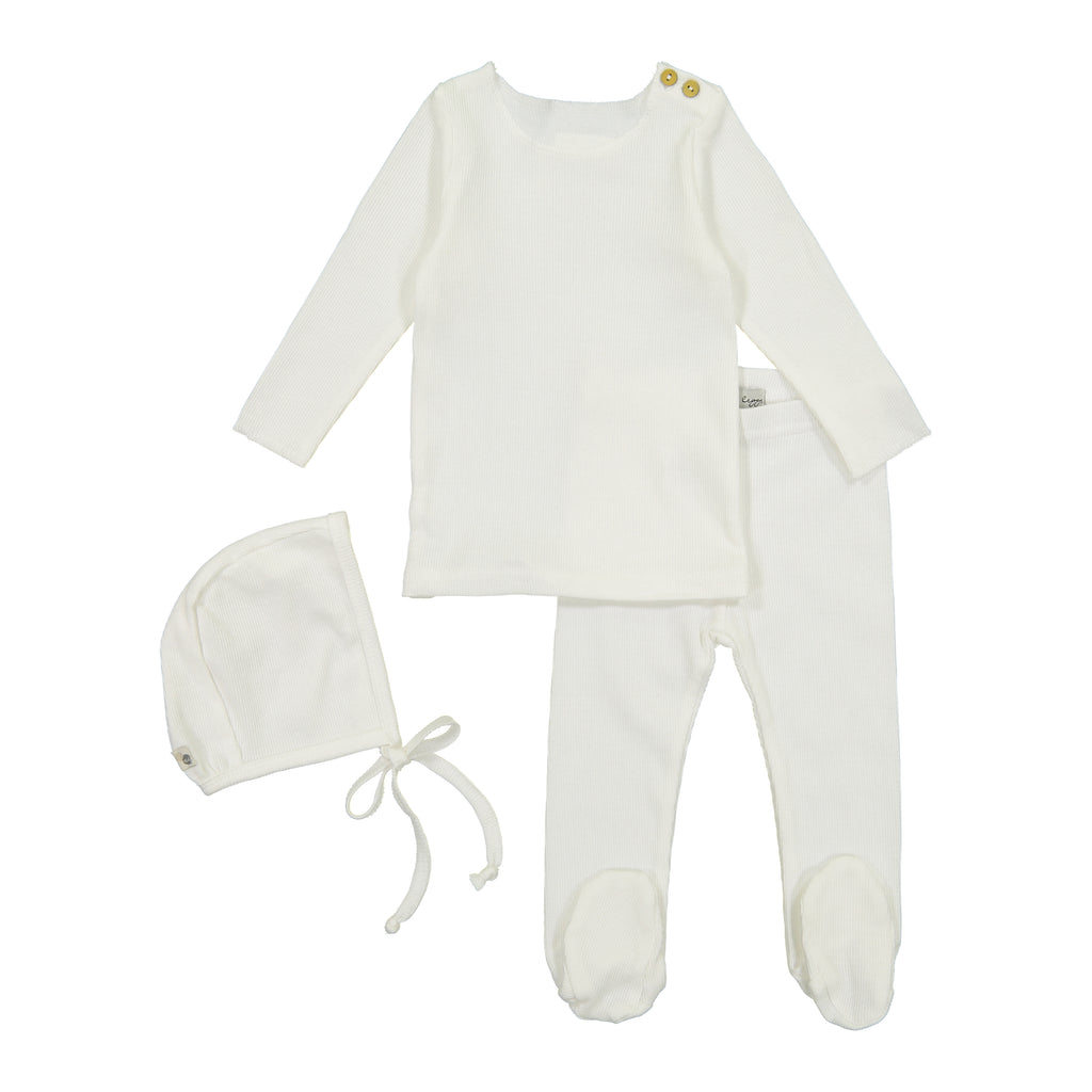 Lil Leggs Winter White Ribbed Set