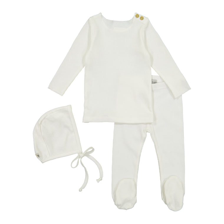 Lil Leggs White Ribbed Baby Set