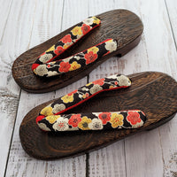 Geta Sandals for Women - Plum Blossoms in Black