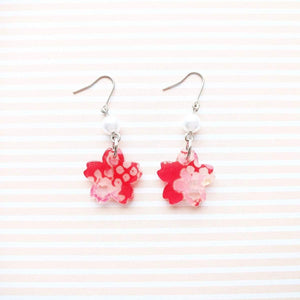 Cherry Blossom Earrings by Cocoluck - Kimono Jewelry - Red Top