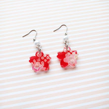 Cherry Blossom Earrings by Cocoluck - Kimono Jewelry - Red Closeup