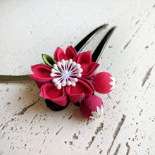 Cherry Blossom Two Leg Hair Stick - Kanzashi Hair Stick - Red Closeup