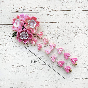 Cherry Blossoms Dangle Kanzashi Hair Clip for Kimono - Dimensions