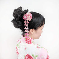 Cherry Blossoms Dangle Kanzashi Hair Clip for Kimono with model